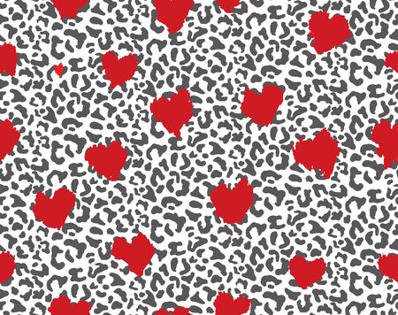 Leopard or jaguar with red heart print seamless pattern, textured fashion print, abstract safari background for fabric, textile. Effect of big tropical wild cat fur, spots stylized as heart camouflage