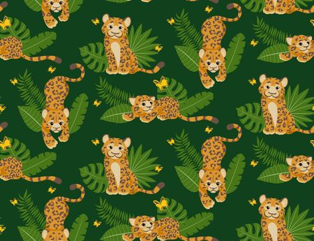 Leopard or jaguar with tropical leafs seamless pattern. Modern and trendy textile fashion style. Cute cartoon character. Tropical animal in african jungle, wild cat on green background. For fabric
