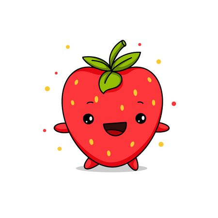 Kawaii Strawberry cartoon vector illustration, cute summer berry smiling for logo, poster, banner, logo, icon, textile print, kids t-shirt, invitation, organic food materials, healthy fruit nutrition.
