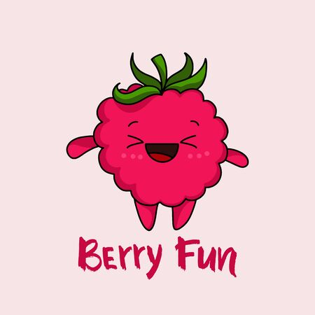 Kawaii Strawberry cartoon with Text Berry Fun vector illustration, cute summer berry smiling for logo, poster, icon, textile print, kids t-shirt, invitation, organic food, healthy fruit nutrition.