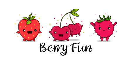 Kawaii set of Strawberry, raspberry and cherry fun cartoon vector illustration, cute summer berry smiling for logo, poster, icon, textile print, kid t-shirt, organic food, healthy fruit nutrition.