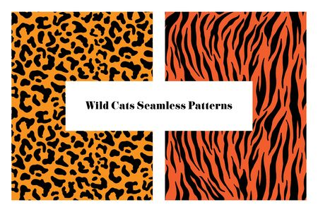 Tiger stripes and leopard spots seamless pattern, animal skin texture, abstract ornament for clothing, fashion safari wallpaper, textile, natural hand drawn ink, camouflage, tropical wild cat set