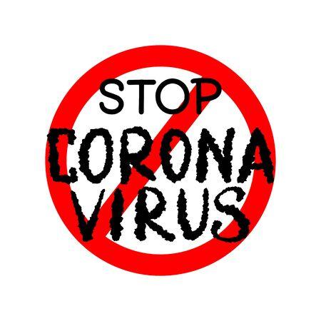 Stop Coronavirus with red circle sign for poster warning china quarantine
