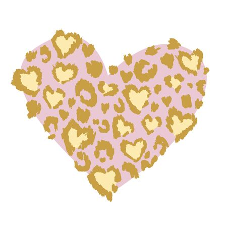 Leopard, jaguar or cheetah print heart shaped, textured fashion print, abstract safari background for fabric, textile. Effect of big tropical wild cat fur, spots stylized as hearts. Vector animal skin
