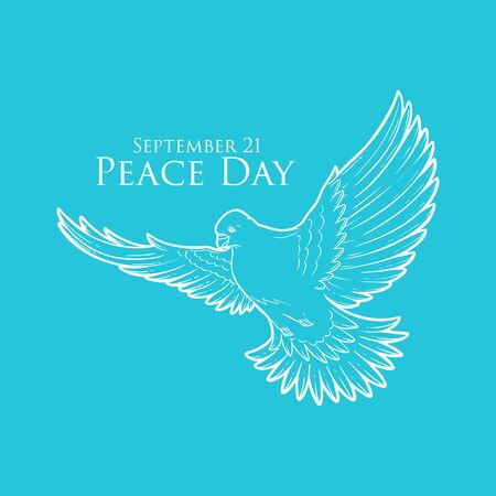 Peace Day concept with white pigeon or dove line art, greeting card for international holiday, love, hope and freedom sign, planet ecological problems poster, charity and humanity  . September 21 Ilustração