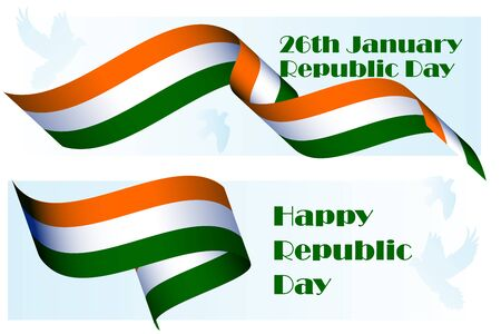 Republic Day in India, 29th of January, national holiday poster template with 3D realistic ribbon colored as Indian flag and dove for national holiday banner, icon, greeting card. Vector illustration