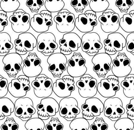Skull seamless pattern, vintage vector art for fabric, festival invitation, poster on Halloween or Day of the Dead in Mexico party, metal rock event. Human sugar skull, funny cartoon, horror print