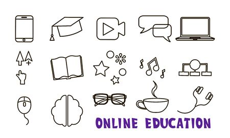 Online education or e learning or internet graduation set of icons with mobile device, cell phone, video, chat, PC, computer, computer arrow, book, audio, chaart. mouse, brain, glasses, cup earphones
