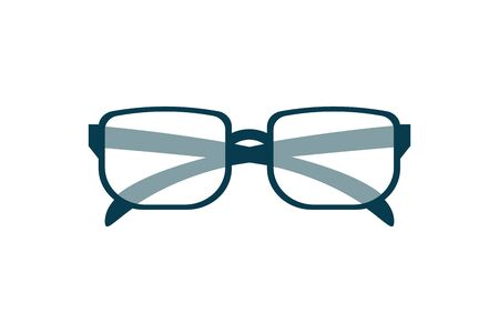 Eyeglasses icon, stylish accessory, eye wear design for poster, banner, logo of optical shop, online education concept, e-learning business, library lecturer optic, old people glasses. Isolated vector