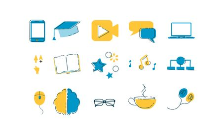 Online education or e learning, internet graduation set of icons with mobile device, cell phone, video, chat, PC, computer, computer arrow, book, audio, chaart. mouse, brain, glasses cup earphones