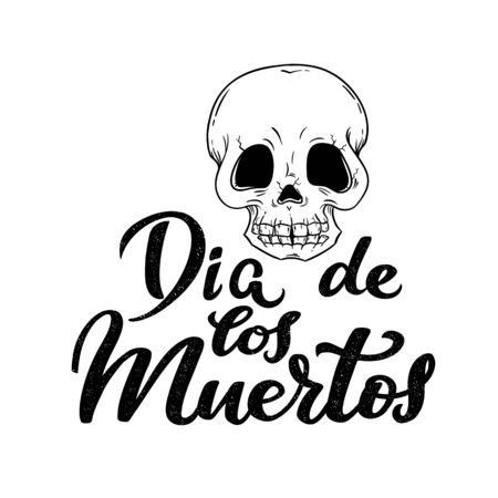 Day of the dead, Dia de los Muertos traditional Mexican party, Halloween banner with sugar skull with fractures, monochrome art and hand drawn calligraphy for banner, logo, invitation, celebration