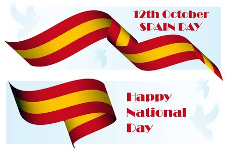 Spain National Day, 12th of October, patriotic holiday poster template with 3D realistic ribbon colored as Spanish flag and dove as peace symbol for national holiday banner, greeting card Vector art Ilustração