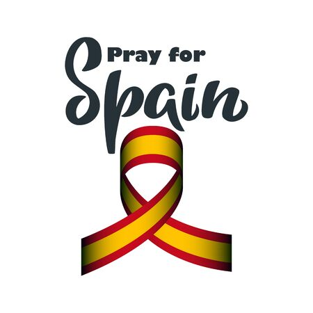 Pray for Spain lettering with national flag colors ribbon for pandemic situation in Spain protection poster, infection in Europe design, day of help and support in case of national trouble with hope