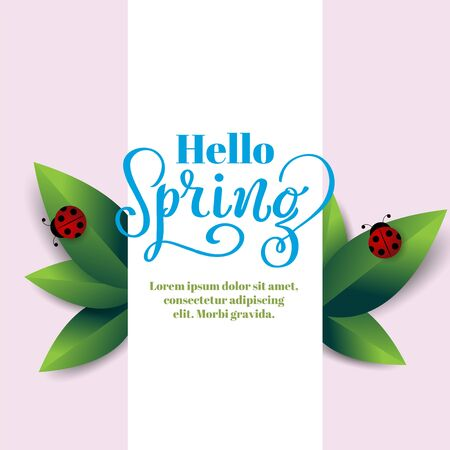 Hello Spring hand drawn text with green leaves and lady bug poster for seasonal sale, March 8 promo, ad banner, botanical illustration, organic shop promotion, wedding invitation, logotype or icon. Ilustração