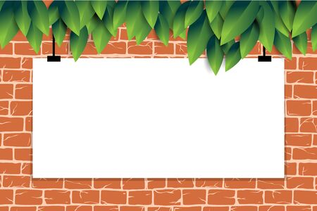 Red brick wall with green leaves pattern for tool shop, DIY store, garden center or plant owner promo, decoration, web site. Old ancient or aged rectangle bricks for poster on house facade decoration. Ilustração