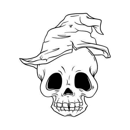 Skull in old witch hat hand drawn art for Day of the dead, Dia de los Muertos traditional Mexican party, Halloween, rock or gothic print, evil face, horror graphic, pirate pattern, tattoo illustration