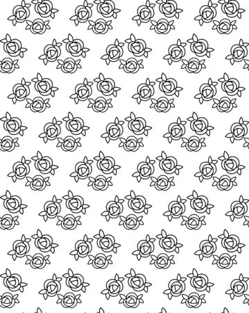 Small flowers seamless pattern with black and white roses with leafs for fashion print, botanical design, wrapping paper, textile, wall paper, vintage art, spring or summer floral illustration, plant