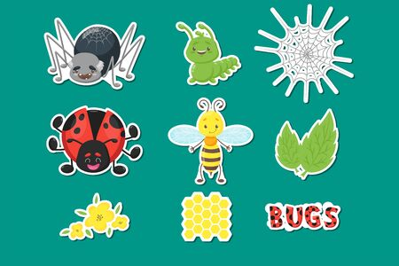 Bug or insect set. Spider, caterpillar or worm, ladybird, bee or wasp, leaves, flowers, honeycomb, dotted letters. Cute vector mascot character for logo, icon, sticker, nursery design, holiday party Ilustração