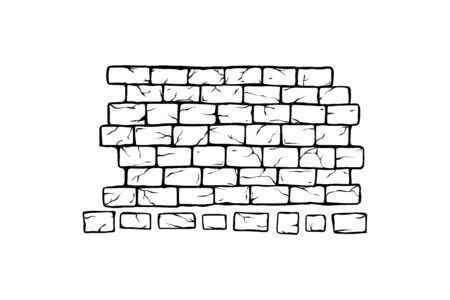 Brick Wall vector illustration, old ancient or aged rectangle bricks for poster on house facade decoration, exterior, rough vintage interior of room. Sketchy style for logo, icon, card, web site, ad