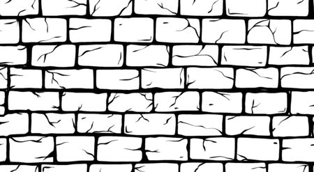 Brick White Wall seamless pattern, old rectangle bricks for poster on house facade decoration, exterior, rough vintage interior of room, tool shop, DIY store, garden center or graffiti art. Vector illustration