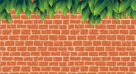 Red brick wall with green leaves pattern for tool shop, DIY store, garden center or plant owner promo, decoration, web site. Old ancient or aged rectangle bricks for poster on house facade decoration Ilustração