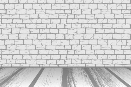 Brick White Wall with floor, old rectangle bricks for poster house facade decoration. Rough vintage exterior/interior of room, tool shop, DIY store, garden center or graffiti art. Vector background