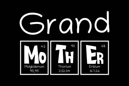 Grand Mother Text as Periodic Table of Mendeleev Elements for printing on t-shirt, mug, any gift, for Mother's day or birthday of Granny, trendy concept for june holiday, pattern for gift, family look.