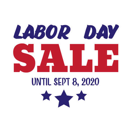 Labor Day Sale 2020, September Discount day banner, sticker in colors of American flag with stars, vector illustration on transparent background, patriotic shopper festival, online shopping promo