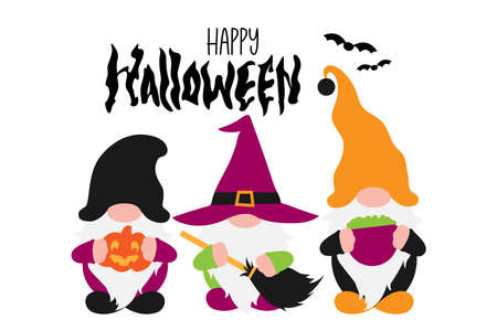 Halloween Scandinavian Gnomes in costumes. Witch, Wizard with broom, Gnome with Pumpkin Jack O Lantern. Hand drawn lettering Halloween. Bat icons. Vector illustration, isolated without background