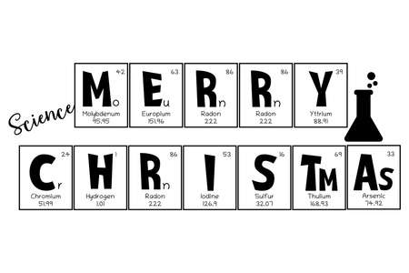 Periodic table Christmas and New Year celebration poster, greeting card. Mendeleev table elements design for a holiday ornament, for school university teacher, laboratory person