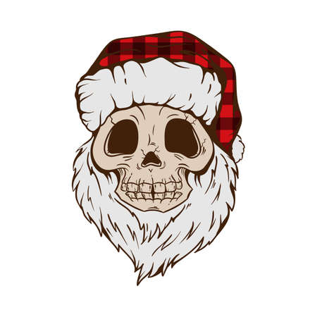 Santa Skull in buffalo plaid Christmas hat with hipster beard Line art Tattoo. Santa Claus skeleton for Gothic alternative holiday party, gift for him, shirt for men fashion print. Vector, isolated