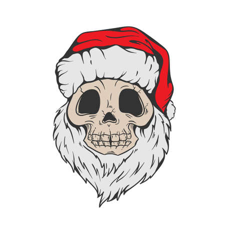 Santa Skull in Christmas hat with hipster beard Line art Tattoo. Santa Claus skeleton for Gothic alternative holiday party, gift for him, shirt for men fashion print, hand drawing. Vector, isolated