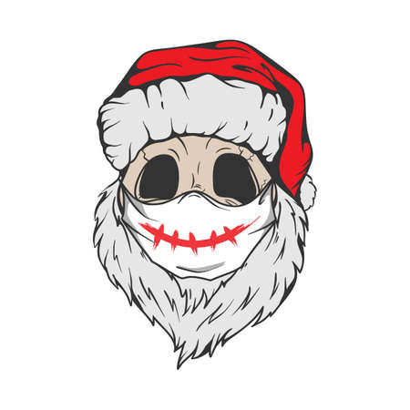 Santa Skull in Christmas hat, quarantine mask with hipster beard Line art Tattoo. Santa Claus skeleton for Gothic alternative holiday party, gift for him, shirt for men fashion print. Vector, isolated Ilustração