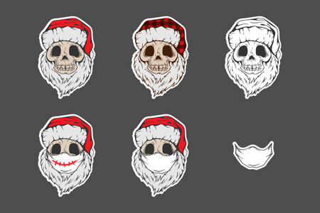 Santa Skull in Christmas hat with hipster beard Line art Tattoo. Sticker set. Santa Claus skeleton for Gothic alternative holiday party, gift for him, shirt for men fashion print, hand drawing. Vector Ilustração