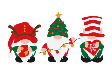 Christmas Gnomes in holiday hats, scandinavian gnome with decoration in hands - sock, garland, snoflake, male nordic gnomes, vector Christmas decoration, traditional tomte, elf or dwarf for greetings Иллюстрация