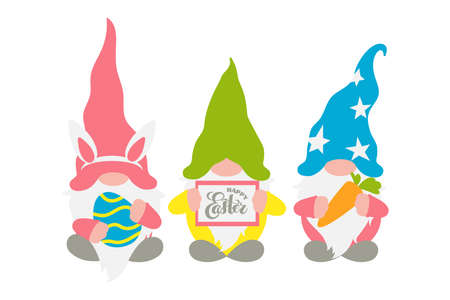 Easter gnomes, three Scandinavian gnomes in pastel colors with a chocolate easter egg, rabbit ears, carrot, and frame with hand lettering Happy Easter. Fun spring art, cute flat character for holiday