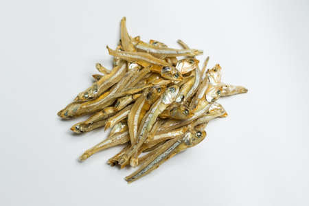 Dried anchovies with white background