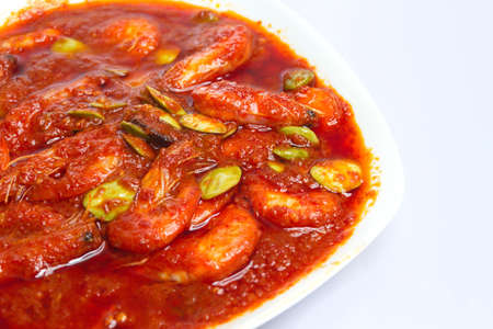 Hot and spicy prawn with parkia Stock Photo