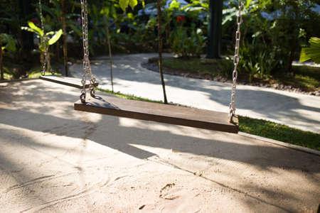 wooden cradle in park 免版税图像