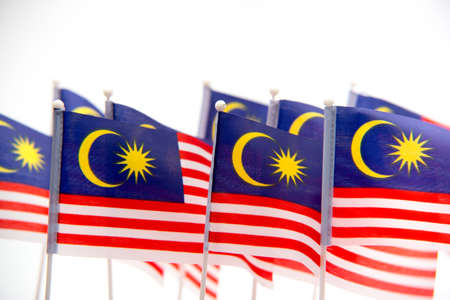 Malaysian Flag on white isolated background, selective focus