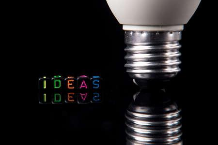 Led light bulb on dark isolated background, idea conceptual