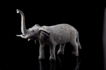 elephant toy figure on dark isolated background, selective focus, shallow depth Stock Photo