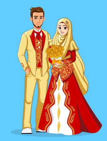 골드 레드 이슬람 웨딩 드레스 일러스트