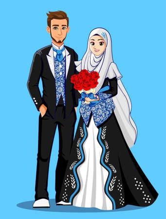Blue Black Muslim Wedding Dress Illustration