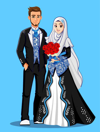 Blue Black Muslim Wedding Dress Illustration