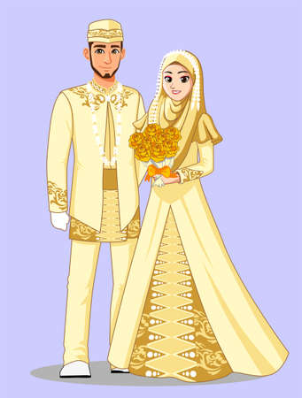 Gold Muslim Wedding Dress Stock Vector - 92597174