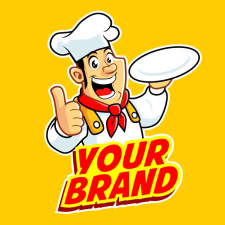 Male Chef in action logo Illustration