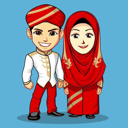 Red Gold Muslim Wedding Dress