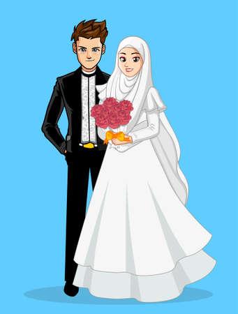 화이트 블랙 이슬람 웨딩 드레스 스톡 콘텐츠