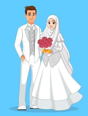 화이트 이슬람 웨딩 드레스